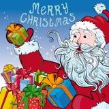 Bożenarodzeniowy tło Święty Mikołaj z prezentami Obrazy Royalty Free