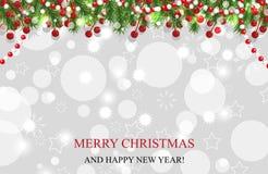 Bożenarodzeniowy tło, nowy rok dekoracja z girland jedlinowymi gałąź, koraliki i uświęcona jagoda, wektor royalty ilustracja