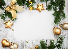Bożenarodzeniowy tło - pusty papier z dekoracją Fotografia Stock