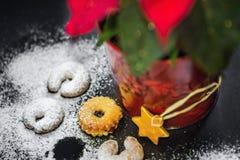 Bożenarodzeniowy tło, torty kropiący z prochowym cukierem i boże narodzenie gwiazda, kwitniemy w kwiatu garnku zbliżenie Zdjęcia Stock