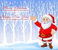 Bożenarodzeniowy tło z Święty Mikołaj falowania ręką Obraz Royalty Free