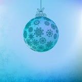 Bożenarodzeniowy tło z błękitną piłką. + EPS8 Zdjęcia Royalty Free