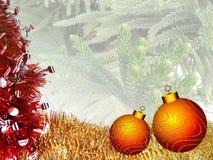 Bożenarodzeniowy tło z czerwienią i żółty ornament na choince textured tło ilustracja wektor