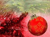 Bożenarodzeniowy tło z czerwienią i żółty ornament na czerwonym błyskotliwości tle royalty ilustracja