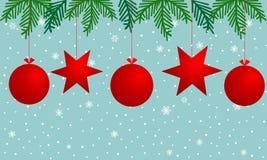 Bożenarodzeniowy tło z czerwonymi piłkami, płatek śniegu i gałąź choinką na błękitnym tle, gwiazdy, royalty ilustracja