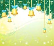 Bożenarodzeniowy tło z dzwonami Zdjęcie Stock