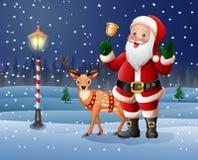 Bożenarodzeniowy tło z kreskówki Święty Mikołaj dzwonienia dzwonem royalty ilustracja