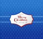 Bożenarodzeniowy tło z płatkami śniegu i Wesoło bożych narodzeń etykietką Zdjęcia Royalty Free