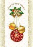 Bożenarodzeniowy tło z płatkiem śniegu, zegarami i piłkami, Obrazy Royalty Free