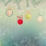 Bożenarodzeniowy tło z retro piłkami. + EPS8 Fotografia Stock