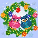 Bożenarodzeniowy tło z sową, płatek śniegu, iglaste gałąź, dekorować z piłkami, gwiazdy ilustracji
