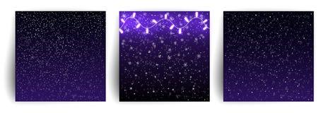 Bożenarodzeniowy tło z spada płatek śniegu, światło girlandy przejazd tła zimy śniegu Set bożych narodzeń kartka z pozdrowieniami ilustracji
