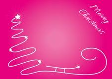 Bożenarodzeniowy tło z sylwetką i błyszczącymi gwiazdami prostą drzewa, Santa sania, Oryginalna kartka bożonarodzeniowa z miejsce Zdjęcie Stock