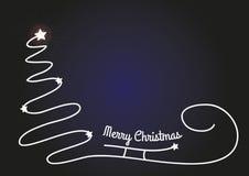 Bożenarodzeniowy tło z sylwetką i błyszczącymi gwiazdami prostą drzewa, Santa sania, Oryginalna kartka bożonarodzeniowa z miejsce Obraz Royalty Free