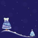 Bożenarodzeniowy tło z uroczymi drzewami, płatkami śniegu i błyszczącymi gwiazdami. Fotografia Stock