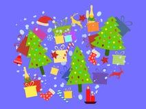 Bożenarodzeniowy tło z wakacyjnymi symbolami Choinka z prezentami, szampanem i dekoracjami, kolaż wektor ilustracji