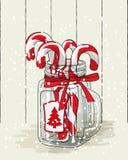 Bożenarodzeniowy temat, cukierek trzciny w szklanym słoju z czerwonym faborkiem, ilustracja Obraz Royalty Free