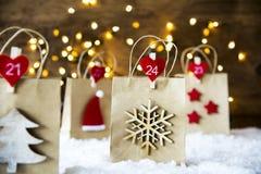 Bożenarodzeniowy torba na zakupy, płatek śniegu Obrazy Royalty Free