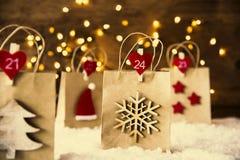 Bożenarodzeniowy torba na zakupy, płatek śniegu, Instagram filtr Zdjęcia Royalty Free