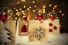 Bożenarodzeniowy torba na zakupy, płatek śniegu, Instagram filtr, drzewo Zdjęcie Stock