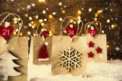 Bożenarodzeniowy torba na zakupy, płatki śniegu, Instagram filtr Zdjęcia Royalty Free