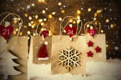 Bożenarodzeniowy torba na zakupy, płatki śniegu, Instagram filtr, drzewo Zdjęcie Stock