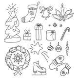 Bożenarodzeniowy ustawiający ręka rysująca doodles w prostym stylu wektor konturowa ilustracja Obraz Stock