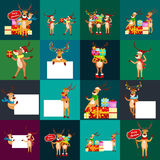 Bożenarodzeniowy ustawiający rogacz z sztandarem, szczęśliwej zimy xmas wakacyjny zwierzęcy kartka z pozdrowieniami, Santa pomagi ilustracja wektor