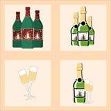 Bożenarodzeniowy ustawiający z butelkami wino ilustracja wektor