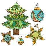Bożenarodzeniowy ustawiający z drzewem, bauble i gwiazdami, Obraz Stock