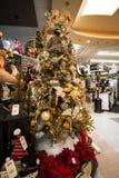Bożenarodzeniowy Wakacyjny Drzewny pokaz przy sklepem detalicznym Zdjęcia Stock