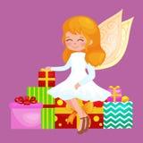 Bożenarodzeniowy wakacyjny dziewczyna anioł z skrzydłami i prezenta pudełkiem jak symbol w Chrześcijańskiej wektor ilustraci reli Obrazy Royalty Free