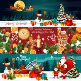 Bożenarodzeniowy wakacyjny sztandar Xmas i nowego roku prezent ilustracji
