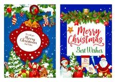 Bożenarodzeniowy wakacyjnych prezentów wektoru kartka z pozdrowieniami ilustracji