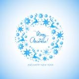 Bożenarodzeniowy wianek działający rogacze, lodowe gwiazdy, klejnoty, płatek śniegu wesołych Świąt ilustracji
