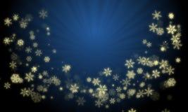 Bożenarodzeniowy wianek tworzący od rozjarzonego złocistego koloru śnieżnych płatków na gradientowym błękitnym koloru tle z promi ilustracja wektor