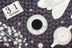 Bożenarodzeniowy wystrój na woolen koc Filiżanka gorąca kawa z marshmallows karciany ilustraci wektoru xmas Nowy Rok, wakacje poj zdjęcia stock