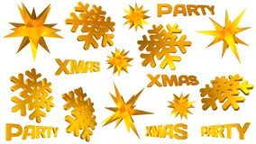 Bożenarodzeniowy wystroju set Złota gwiazda, płatek śniegu, xmas przyjęcia słowo ilustracja 3 d royalty ilustracja