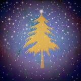 Bożenarodzeniowy złocisty jedlinowy drzewo, gwiaździsty niebo ilustracja wektor