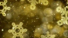 Bożenarodzeniowy złocisty płatka śniegu tło z błyskotliwym bokeh, złocisty temat Fotografia Royalty Free