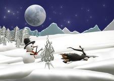 Bożenarodzeniowy zima krajobraz z bałwanem i blask księżyca royalty ilustracja