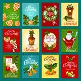 Bożenarodzeniowy zima wakacje kartka z pozdrowieniami set ilustracji