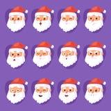 Bożenarodzeniowych Święty Mikołaj głowy emoci twarzy wektorowy wyrażeniowy charakter pozuje ilustracyjnego emojji Xmas mężczyzna  royalty ilustracja