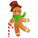 Bożenarodzeniowych ciastek piernikowy mężczyzna dekorował z lodowacenie tanem i mieć zabawy xmas słodką karmową wektorową ilustra Fotografia Royalty Free