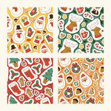 Bożenarodzeniowych ikon wektorowi symbole dla kartki z pozdrowieniami zimy świętowania bezszwowego deseniowego projekta wesoło Bo ilustracja wektor