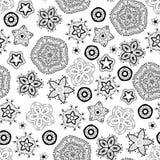 Bożenarodzeniowych płatków śniegu czarny i biały wzór Zdjęcie Stock