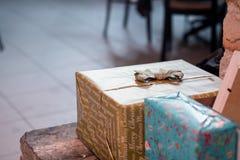 Bożenarodzeniowych pudełek prezenty zdjęcia stock