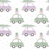 Bożenarodzeniowych samochodów bezszwowy wzór ilustracja wektor
