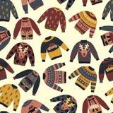Bożenarodzeniowych Wakacyjnych pulowerów wektoru bezszwowy wzór ilustracji