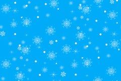 Bożonarodzeniowe światła - błękitny tło z delikatnymi płatkami śniegu Zdjęcie Royalty Free